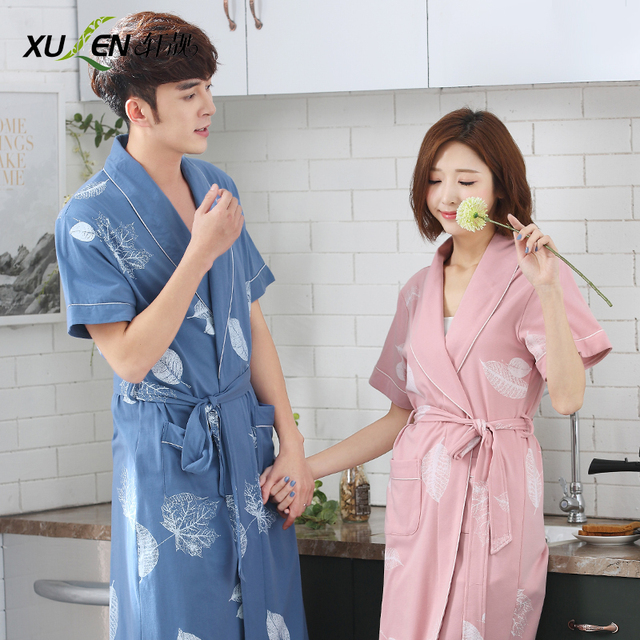 7b747144de Summer lovers robe women s 100% cotton thin sexy short-sleeve medium-long  bathrobe summer 100% cotton bathrobes male