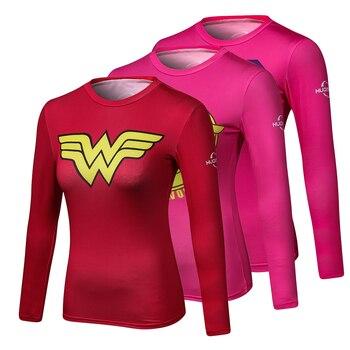 ผู้หญิงการ์ตูน Marvel Superman Captain America Wonder ผู้หญิงการบีบอัดเสื้อแขนยาวเสื้อยืดหญิงฟิตเนส Tights เสื้อ