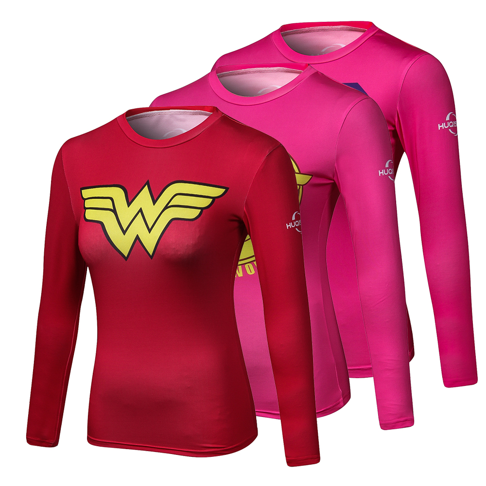 Ladies Comics Marvel Superman Captain America Wonder Women's Compression Shirts Long sleeve T Shirt Female Fitness Tights Shirts image