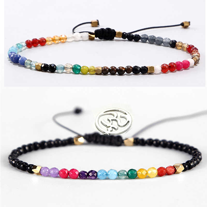 12 Constellation Lucky Stone Beads Simple Bracelet 3mm Beads Adjustable Bohemia Buddhism Women 7 Chakra Bracelets Yoga OM Charm