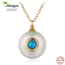 Hongye 2017 New Fashion Simple Pearl Necklace Women 925 Sterling Silver Chain 12 mm Pearl Pendant  Jewelry Necklace For Gift