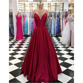 Dark Red Satin Formal <font><b>Dress</b></font> 2018 Spaghetti Strap A Line Floor Length Sexy <font><b>Bridesmaid</b></font> <font><b>Dresses</b></font> Custom Made Maid Of Honor Gowns