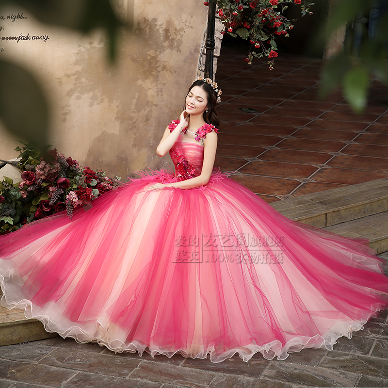 hot font b pink b font rhinestone beading gown medieval floral font b dress b font