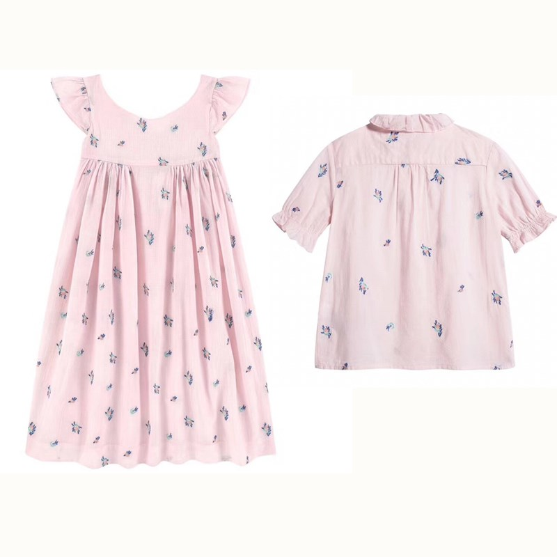 2019 New Summer Floral Pink Dress Baby Girls Pink Blouse Top+Skirt Kids Clothing Set For Girl Cherry Brand Sisters Set