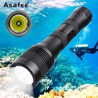 LED Scuba Diving Flashlight XM L2 Underwater Dive Torch Light Lamp Waterproof Diver Scuba Diving Torch 18650 26650 Asafee DIV01