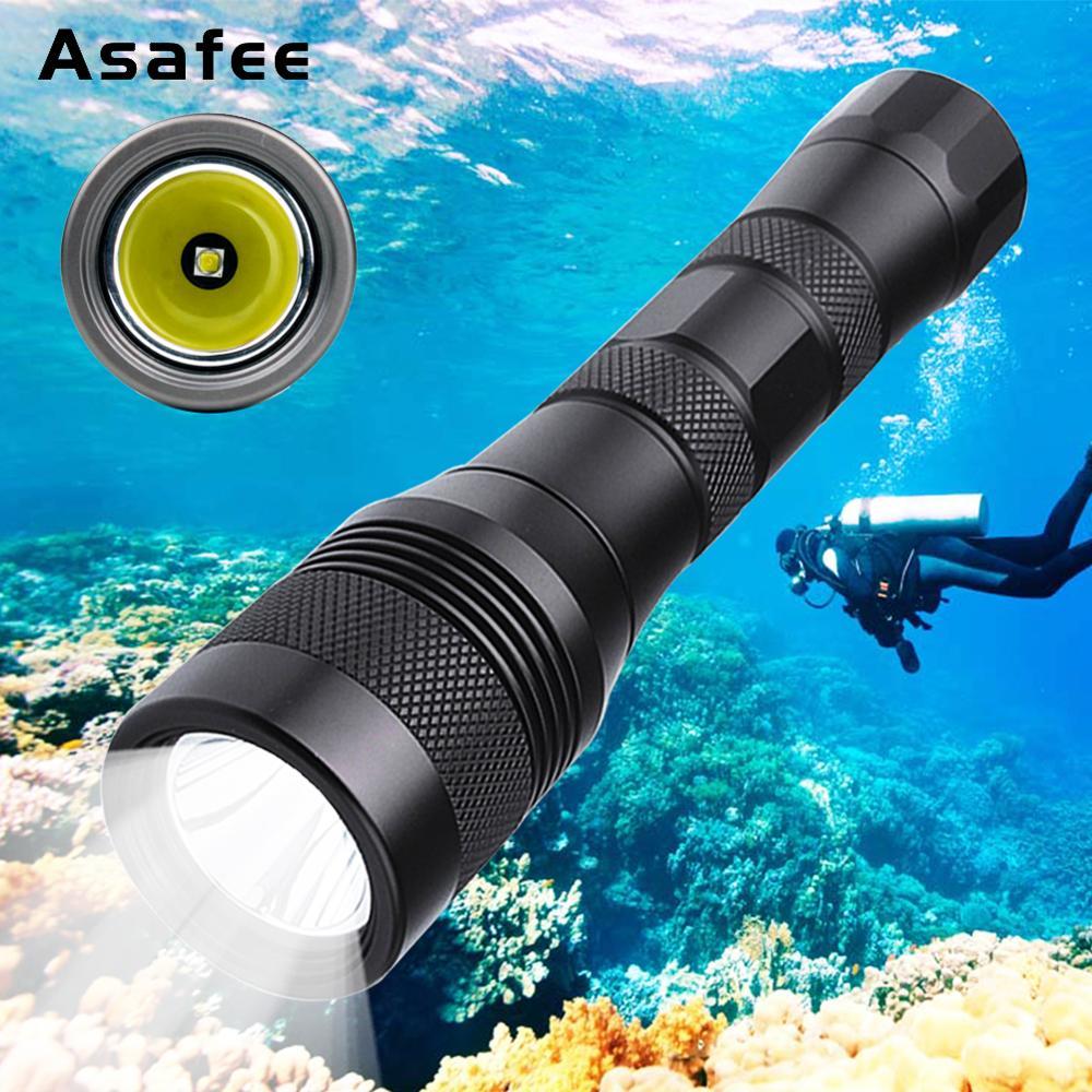 LED lampe de poche de plongée sous-marine XM L2 lampe torche de plongée sous-marine lampe de plongée étanche plongée sous-marine torche 18650 26650 Asafee DIV01