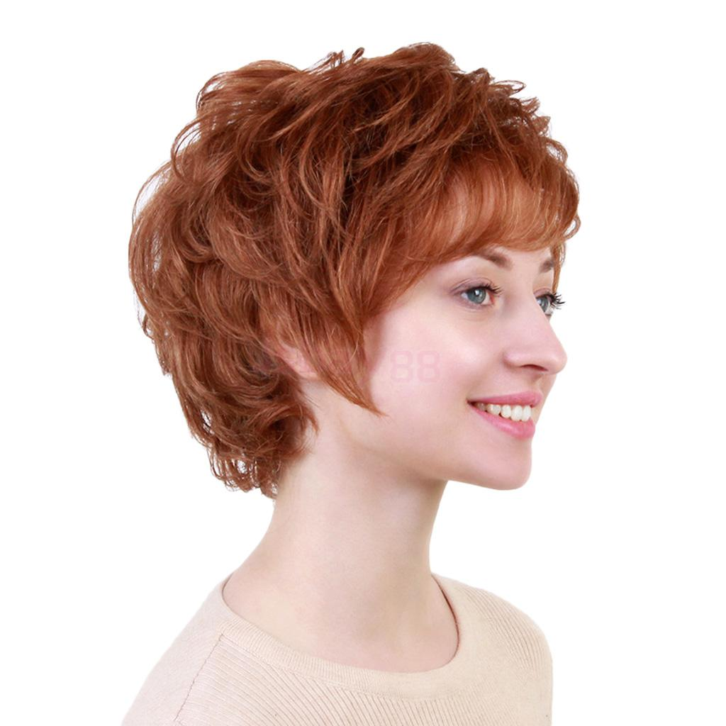 Chic Short Wigs for Women Real Human Hair & Bangs Fluffy Layered Pixie Cut Wig for Cosplay Daily Party Date chic short wigs for women human hair w bangs fluffy pixie cut wig brown