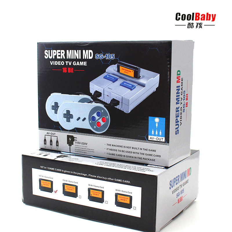 SPUER mini MD16 SG-105 16BIT AV output family games TV video game console with free 167 sega games can insert games card