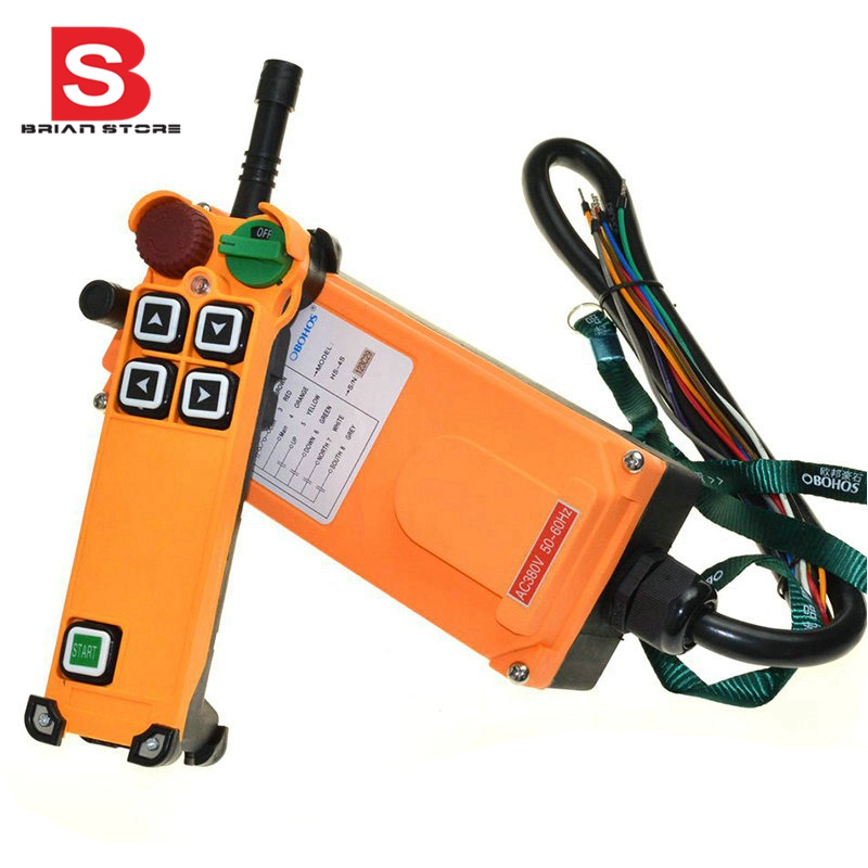 220VAC 4 Channel  1 Speed Hoist Crane Truck Radio Remote Control System with E-Stop