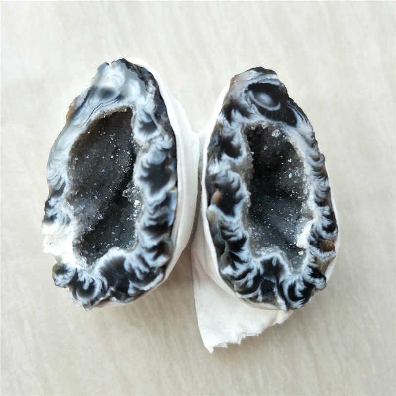1 pair natural rough crystal stone geode Tripterygium wilfordii eggs bling bling rough crystal
