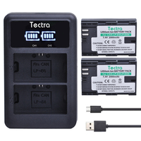 Tectra 2PCS Camera Baterry LP E6 LPE6 LP E6N + LED Display USB Dual Charger for Canon 5DS 5D Mark II Mark III 6D 7D 60D 60Da 70D