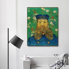 Portrait of Joseph Roulin by Vincent Von Gogh Poster Print Canvas Painting Calligraphy Home Decor Wall Pictures for Living Room
