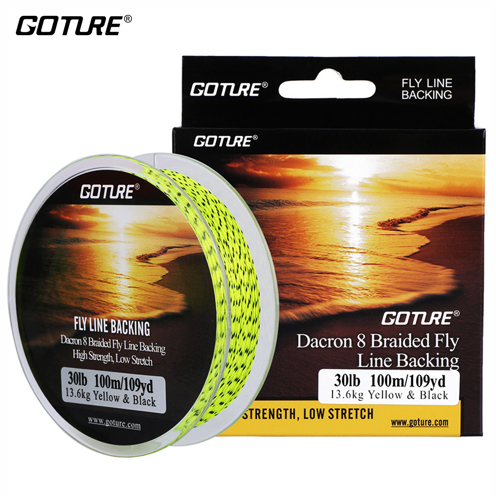 Goture 100M/109Yrd Fly Fishing Backing Line 20lb/30lb 8 Strands Braided Fishing Line For Fly Fishing