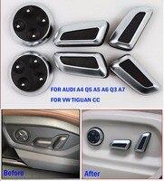DEE Acessórios Do Carro Assento Ajustar Botão Guarnição Da Tampa Chrome Para Audi Q3 Q5 A4 A5 A6 A7 VW Volkswagen Tiguan CC Botão adesivos