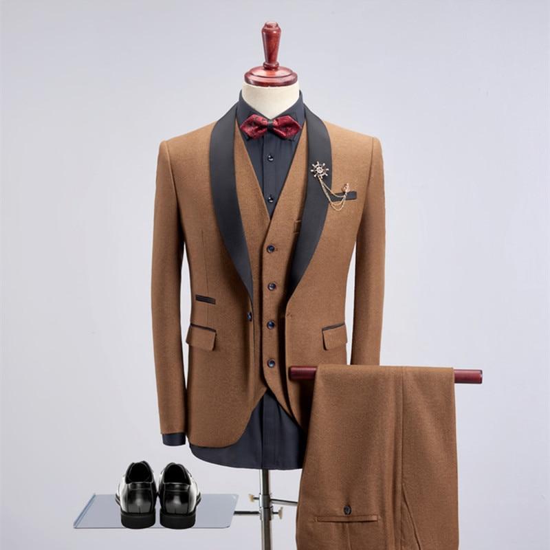 High Quality Men Solid Color Suit Set 3 Piece Set Slim Business Gentleman Professional Tooling Dress Wedding Banquet Host Dress