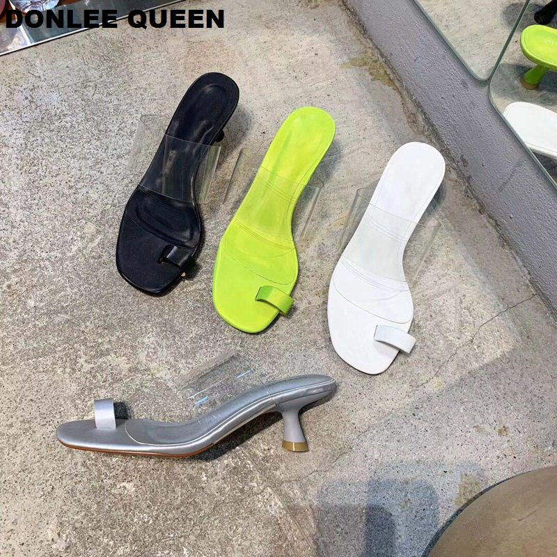DONLEE QUEEN Women Low Heel Slippers Fashion Transparent Narrow Band Kitten Heels Lady Shoes Slip On Slides Sandalias Mujer 2019