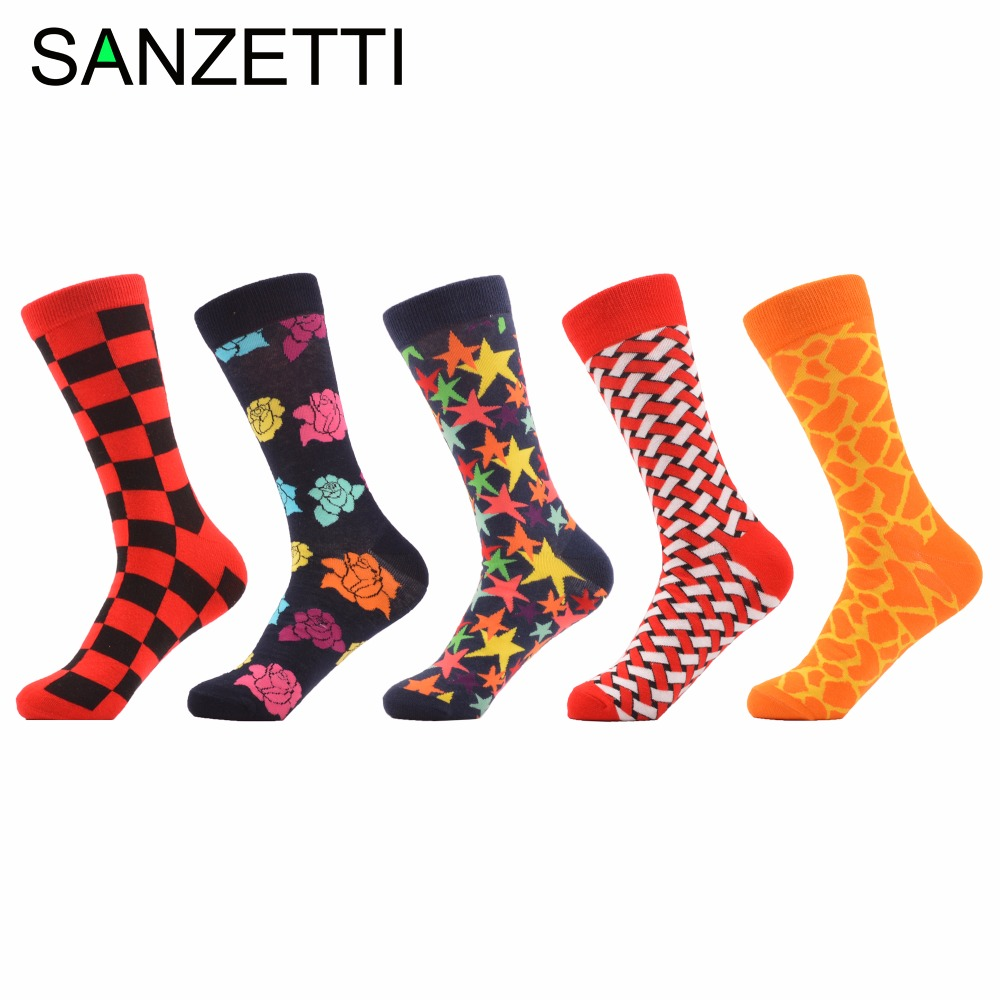 SANZETTI 5 pair/lot Funny Mens Happy Socks Rose Star Leopard Mixed Color Cotton Grid Tube Wedding Socks Casual Dress Crew Socks