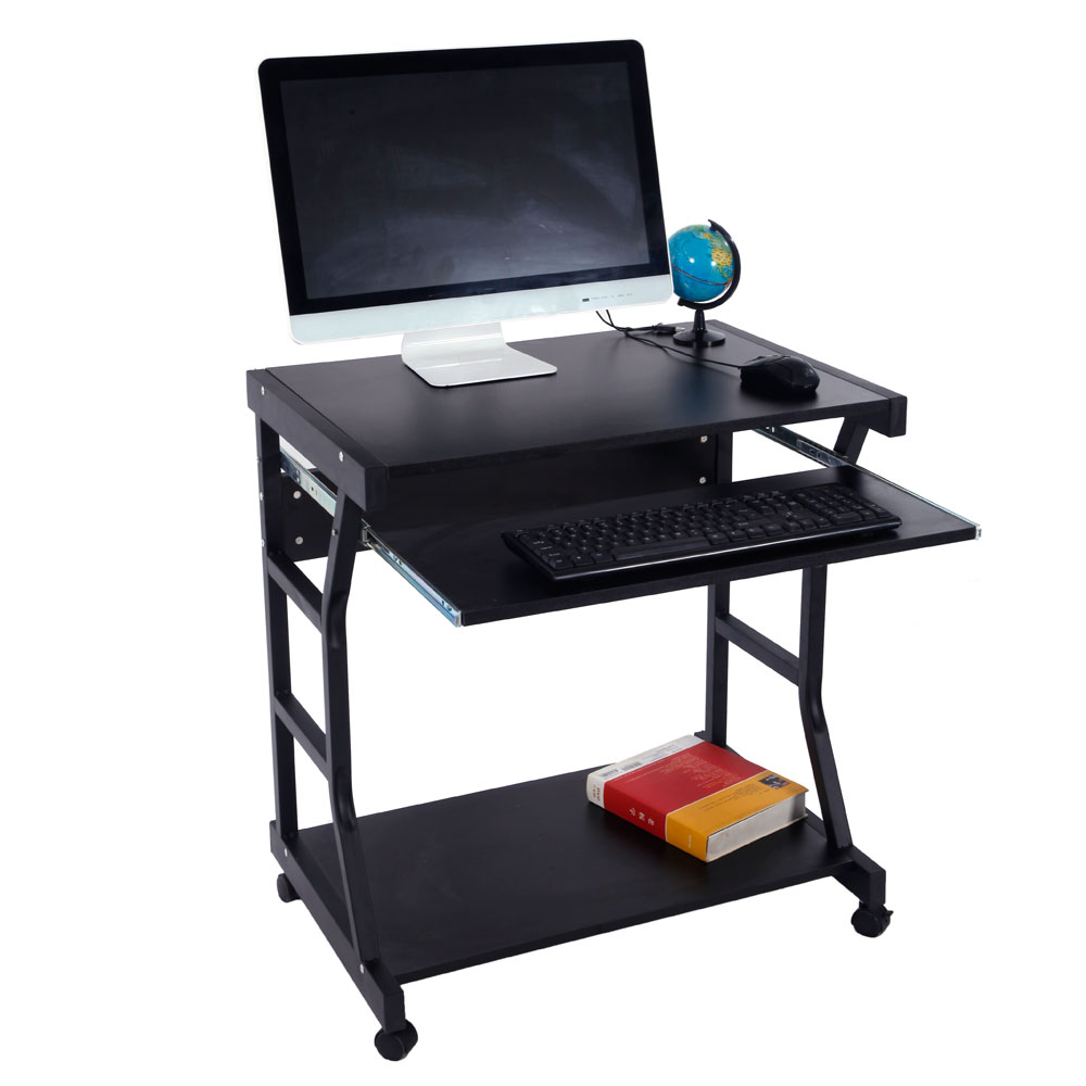 US Moveable Four Casters Computer Desk PC Table Black Dropshipping