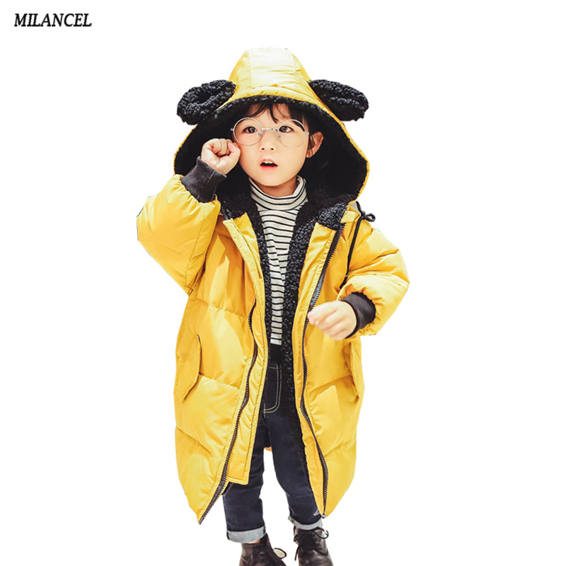 MILANCEL 2017 Kids Winter Hooded Jackets For Girls Parkas Cartoon Style Baby Girl Warm Coat Thicken Lining Children Parkas 2017 fashion boy winter down jackets children coats warm baby cotton parkas kids outerwears for