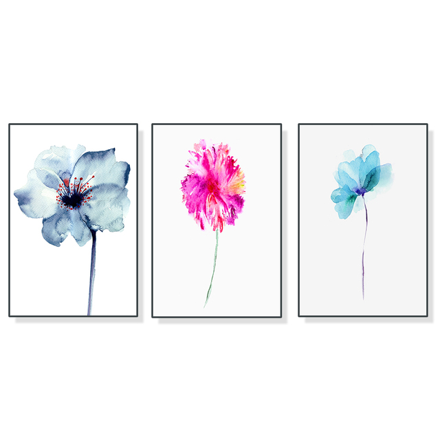 Abstract Watercolor Floral Flower Canvas Painting Modern Minimalist Alpine Orchid Poster Wall Art Picture Home Decor