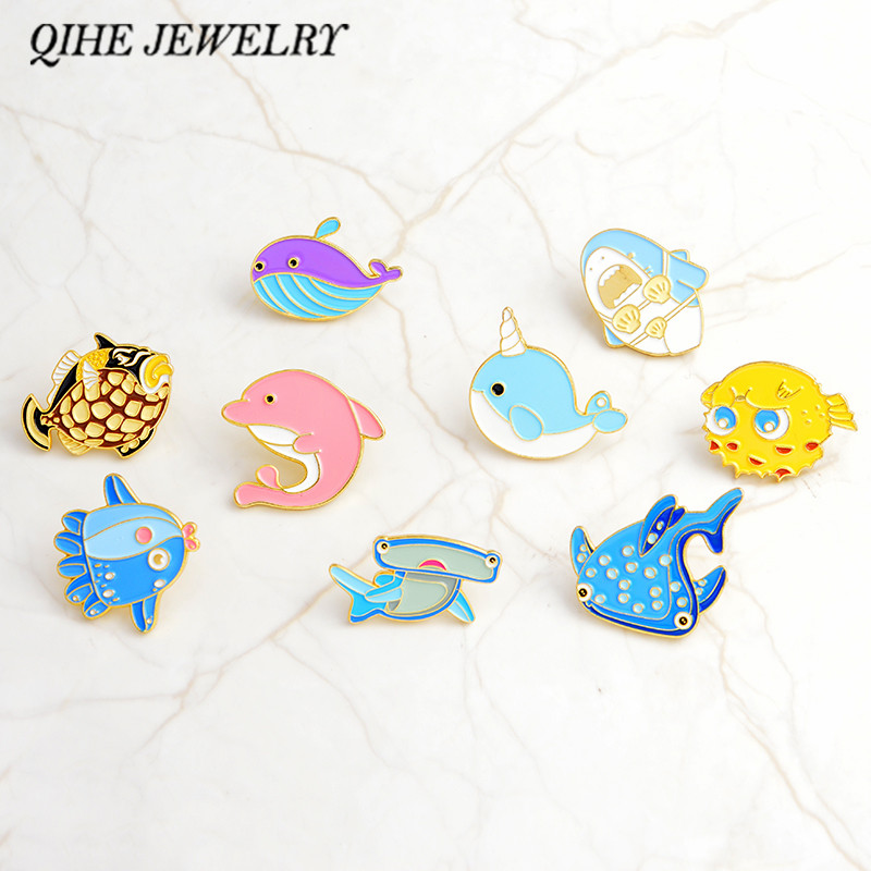 Qihe Jewelry Sea Cuties Pin Whale Shark Narwhal Octopus Puffer Fish Hard Enamel Pin Lapel Pin Brooches Badges Pinback Brooches