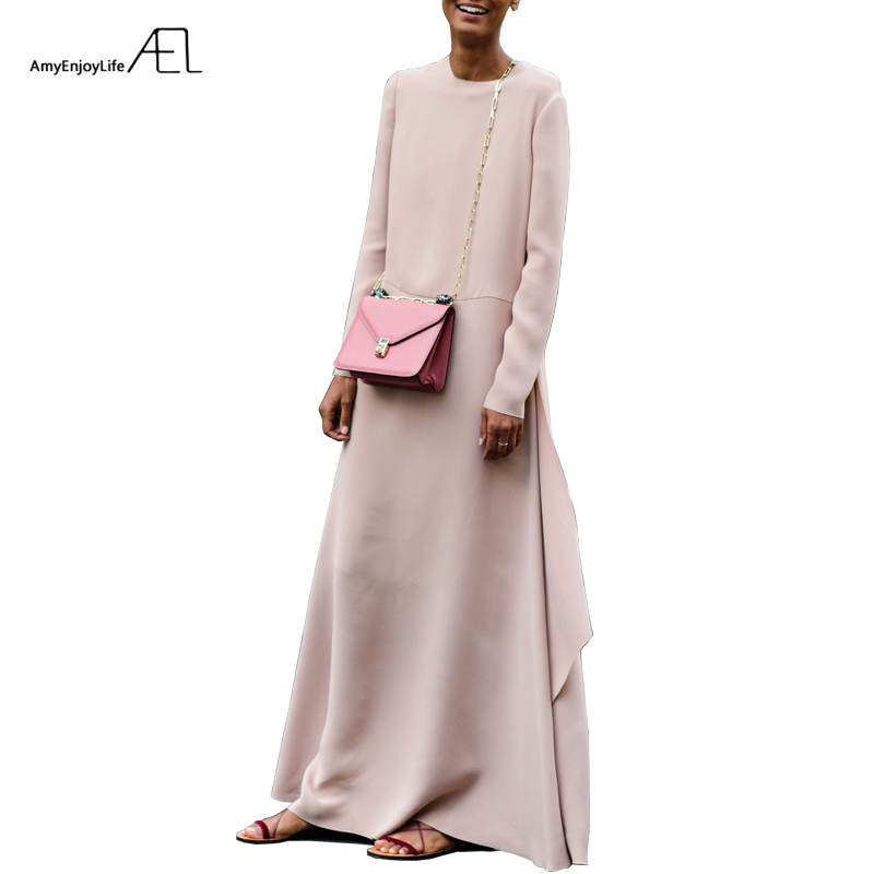 AEL Loose Long Dress Irregular Elegant Slim Clothes Autumn 2017 Fashion Blogger Lady Robe High Quality