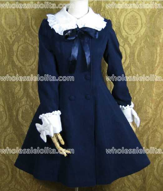 Top Sale Blue Lovely Warm Winter Cute Lolita Coat Winter Long Coats All Size with Bow