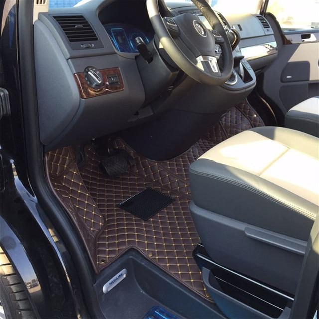 fiber lederen auto vloer interieur mat voor volkswagen multivan caravelle transporter t5 2003 2018 2017