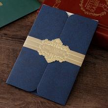 10pcs/lot Navy Blue Invitation with Golden Belt Decoration Business Meeting Wedding Birthday Party