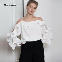 Seamyla Yeni Moda Petal Kollu Bluz Kadınlar Seksi Kapalı Omuz Ruffles Kış Bluzlar Gömlek 2017 Pist Tasarımcısı Bluzlar