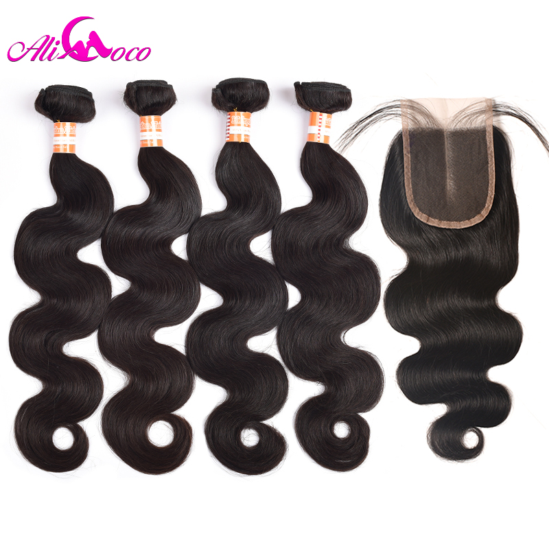 Ali Coco Malaysian Body Wave 4 Bundles With Lace Closure 8-28 Inch 100% Human Hair Bundles With Closure Nonremy Hair Extensions