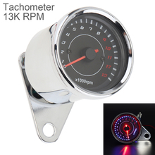 Motorcycle Tachometer 12V Metal Case LED Electronic Speedometer for Motorbike Universal