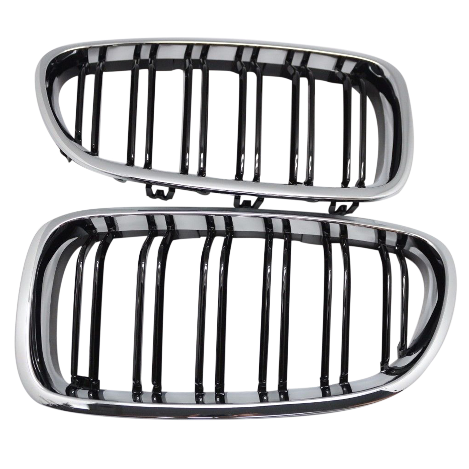 Silver + black Dual Fin Front Grille Grill Hood Nose For BMW F10 F11 5 2010 2015|Racing Grills|   - title=