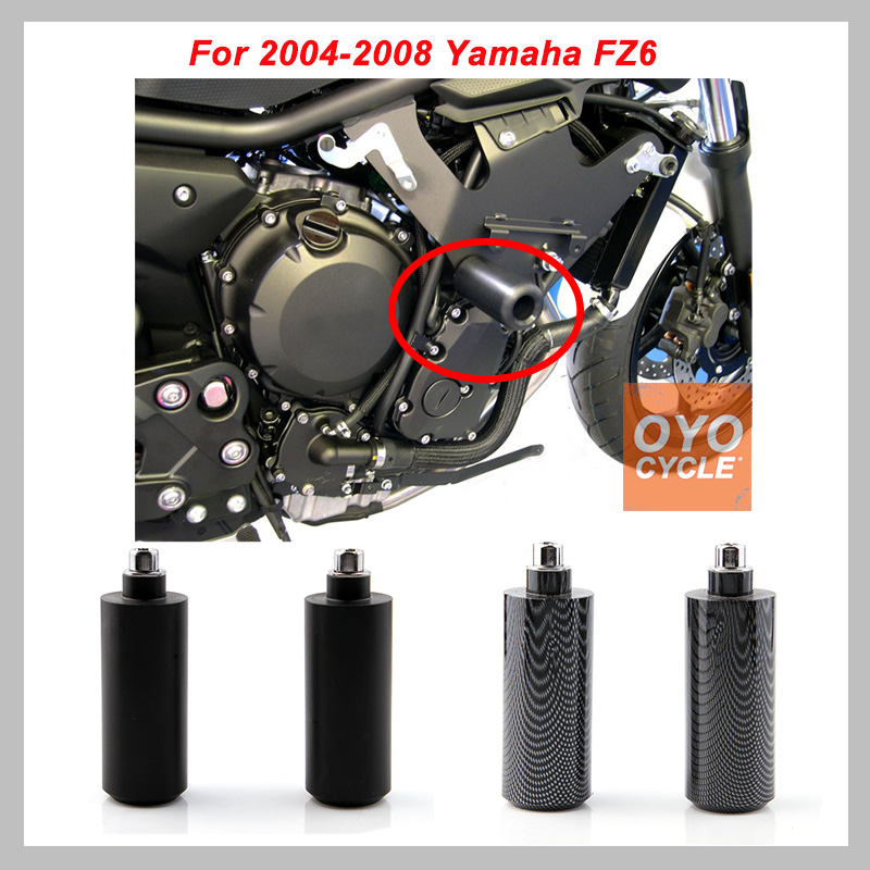 No Cut Frame Slider Pad For 2004-2008 Yamaha FZ6 FZ600 Black Carbon Fiber Derlin Anti Crash Falling Protection Motorcycle Part
