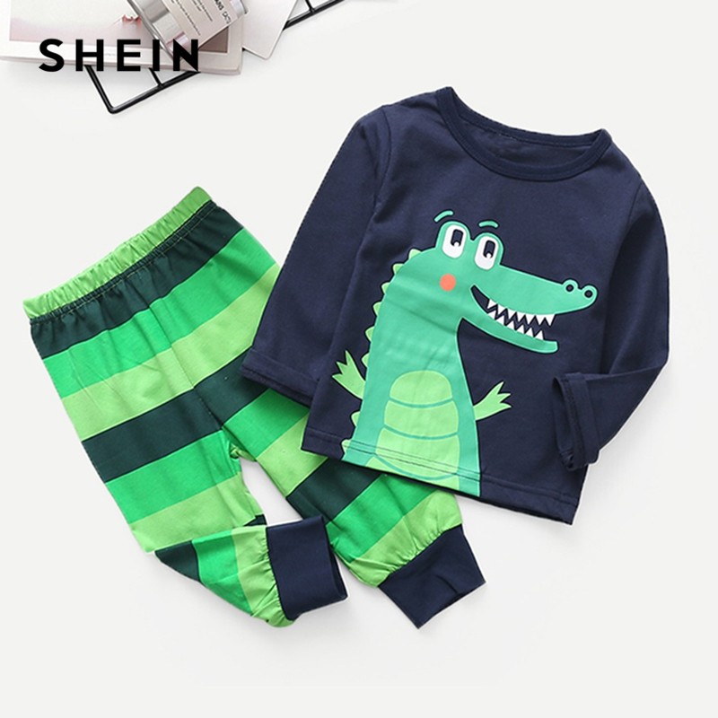 SHEIN Kiddie Toddler Boys Cartoon Print Pullover With Striped Pants Sets Teenagers Spring Long Sleeve Casual Suit Sets For Kids girls slogan print tee with striped pants