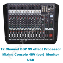 MICWL Pro 12 Channel Dual Group DJ Karaoke Audio Sound Microphone Mixing Console Desk Mixer + USB SD DSP 100-240V working