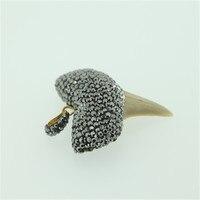 New Arrival Charm Shark Teeth Pendant Pave Rhinestones Bone Pendant For Necklace Earring Fine Jewelry Making