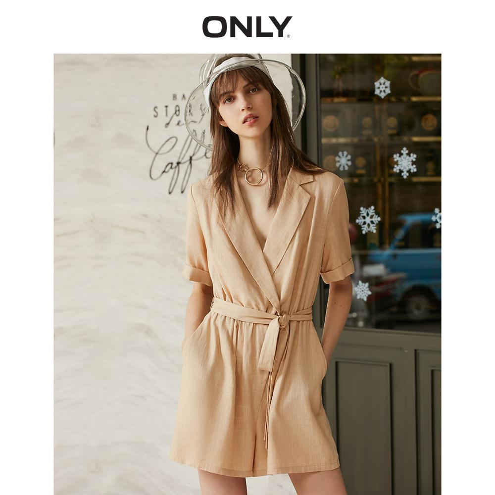 ONLY  Spring Summer Women's Loose Fit Cinched Waist Short Jumpsuits |119178526