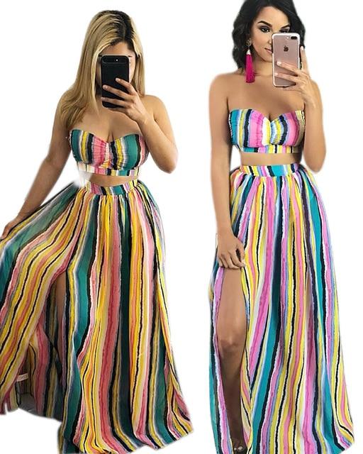 b4b0d7711a7 Women Striped Beach Dress Strapless Tops and Long Skirt Dresses Set Summer  Dresses Sexy Party Two Pieces Maxi Dress Beach Wear