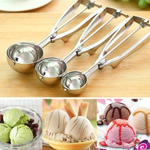 Stainless Steel Spring Handle Ice Cream Potato Cookie Watermelon Scoop Spoon ...
