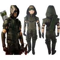 Boys Kids Green Arrow Season 4 Oliver Queen Jacket Outfit Hoodie Full Set Halloween Comic con Anime Cosplay Costume