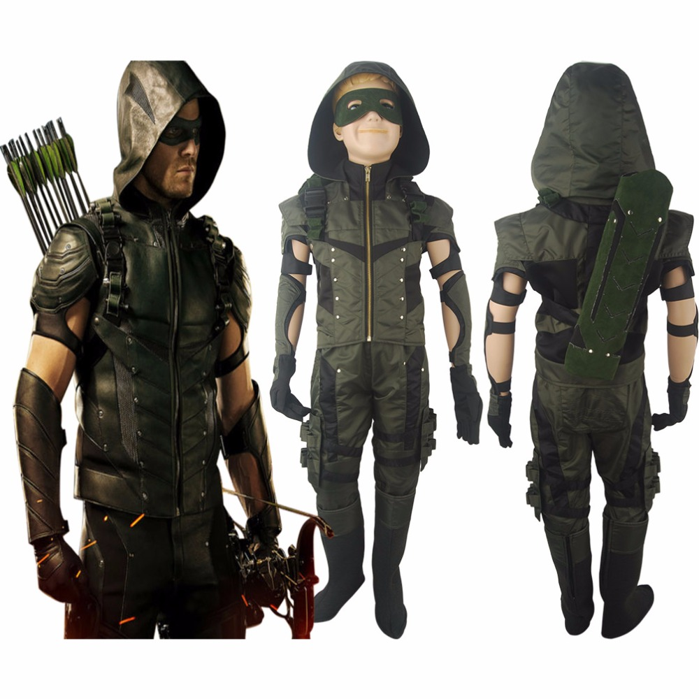 Boys Kids Green Arrow Season 4 Oliver Queen Jacket Outfit Hoodie Full Set Halloween Comic-con Anime Cosplay Costume