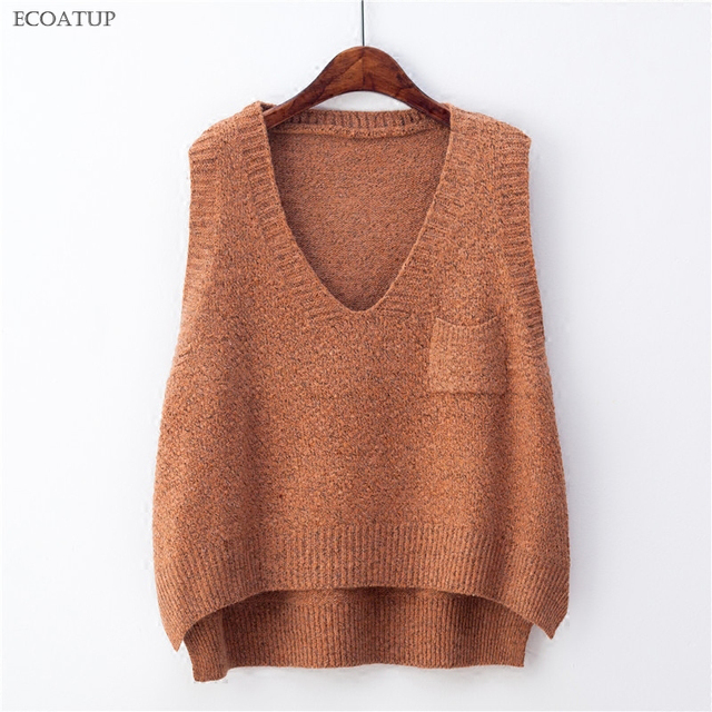 Deep V Neck Sweater Vest For Women Preppy Style Retro Oversize ...