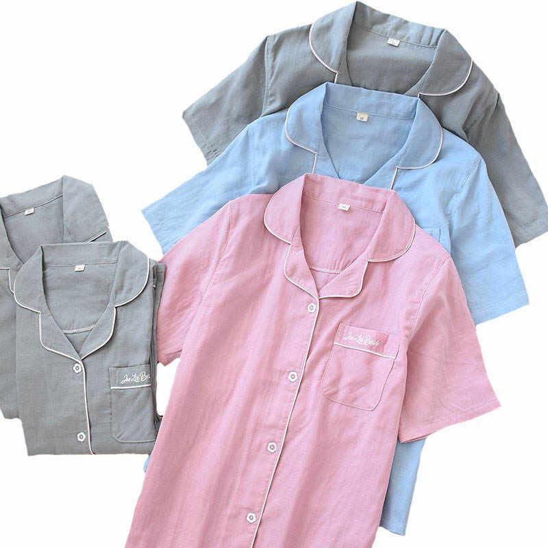 אביב חדש פיג סט זוג הלבשת גזה כותנה מוצק צבע תורו למטה צוואר מאהב של פיג 'מה סט 2 חתיכה קצר שרוול Homewear