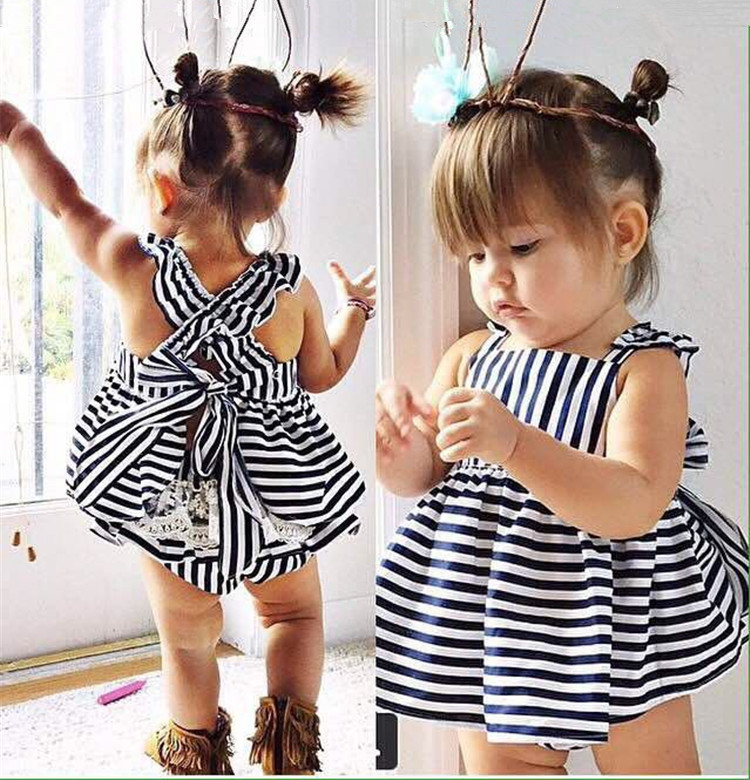 2017 New Girls Summer Summer Cotton Vest explosion tide baby sling child female baby striped Navy Set