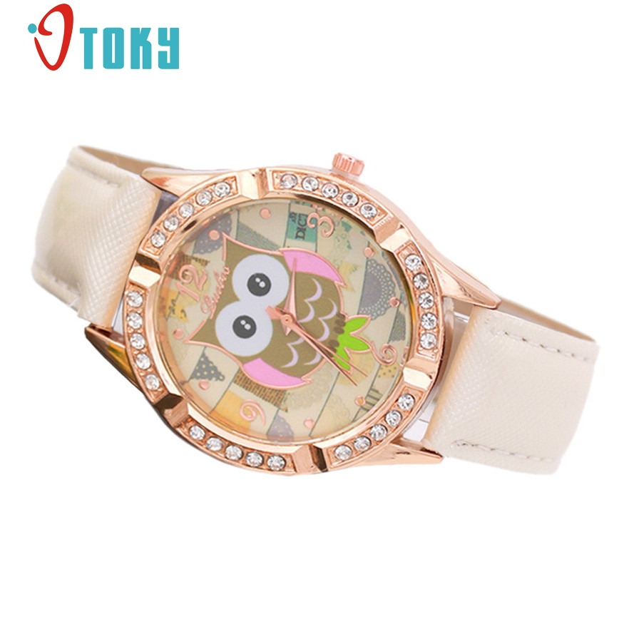 OTOKY fashion printing leather watch women owl pattern diamonds Crystal casual quartz wristwatch relogio feminino #30 Gift 1pc