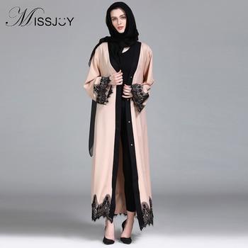MISSJOY, Túnica islámica musulmana, cárdigan de Oriente Medio saudí, vestido caftán marroquí de manga larga, apliques con cuentas para mujer, para Abaya