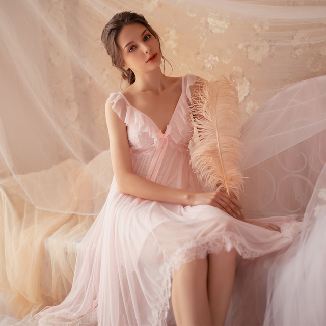Cổ Tích Retro Cung Điện Gió Ngọt Công Chúa Váy Ngủ Mùa Xuân và Mùa Hè Váy Ngủ Phối Ren V Cổ áo Housewear Váy Ngủ Sleepshirts