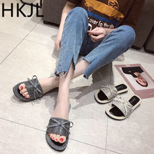 HKJL Slippers female summer wear 2019 new Korean version flat bottom water drills bowknot word slippers A150