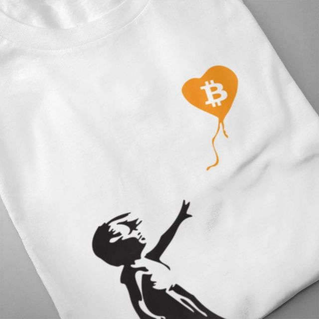 High-Q Bitcoin Balloon Banksy Loves Bitcoin Series 100% Cotton Tee For Man Popular Streetwear For Male O-neck Top Tees 1